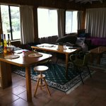 "Lounge/dining in ""Jemima"" cottage - plenty of Norfolk Pine"