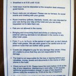 "Unfriendly list of ""house rules"" on door"