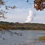 A view of the lake behind the lodge.  You can see the water vapor from the nearby nuclear power