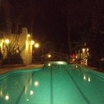 by the pool at night