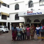 My family in front of the hotel