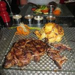 Ribeye (fatty) with scalloped potatoes - lots of sauces