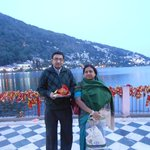 Myself & My wife in Nayna Devi Mandir in evening