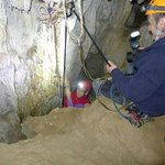 Abseiling within the caves