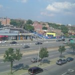 View from window to Queens blvd