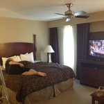 comfy King size bed and large screen tv.