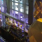 Looking down at the indoor side of the Lobby bar