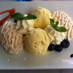 Meringue with ice cream and whipped cream
