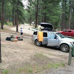 Ample parking at each site - this is Upper Loop in Center Lake Campground