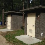 Pit toilets at the Upper Loop of Center Lake Campground