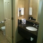 Bathroom; close confines & no lock on doors