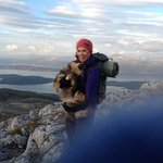 Our guide, Maya, and her dog, Kenya, near the summit of Skamtilden.
