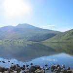 The campsite is situated right by the lake (Scaffel Pike at the back)