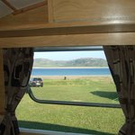 View from caravan window to the beach