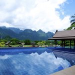 Our infinity pool with the Beautiful Vang Vieng mountains at your finger tips