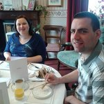 our daughter & son inlaw at breakfast on their anniversary