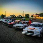 """Lineup of """"Bomber"""" race cars from this summer."""