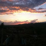 Sunset from one of the rooftop terraces overlooking the mountains.