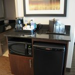 Microwave, fridge and coffee station