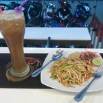 Pad thai with 99 baht Long Island iced tea