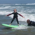 Julia surfing on her first wave !