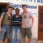 outside the guesthouse with Dheeraj