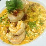 King Prawn with White Cheddar Grits and Creole Butter Sauce