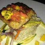 Macadamia-crusted sea bass with watermelon and mango salsa