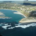 A view of Kalbarri during a flight over the coast and National Park