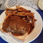 open face meatloaf snd french fries