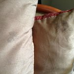 Throw pillows, stained and worn