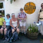 Some of our walking group outside the Nateby Inn July 2013