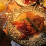 Caramel French toast, bacon, OJ, coffee, and fruit...yum!
