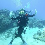 That's me, doing my first scuba dive with Taino Divers!