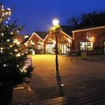 Denby Courtyard at night during the festive season