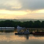 Barges passing in the early morning light