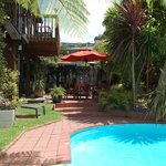 Lounge by the pool at Harbourview Lodge