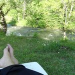 Relaxing on the property on the Aude River after hiking