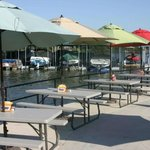 Beautiful outdoor lake front patio dining!