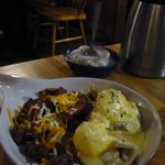 Mom's Eggs Benedict with Burnt Potatoes