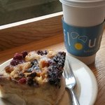 Berry Bread pudding and coffee