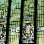 Intricate stained glass arched windows