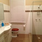Large bathroom with large shower. Very clean.