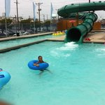 Tubing down the slide