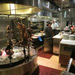 Wood-fired asador and open kitchen at Graziano's
