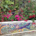 Garden and tiled wall