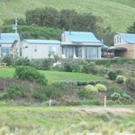Chocolate Gannets Villas, nestled on the hill overlooking the beach.