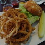 JRay's Grilled chicken sandwich with onion strings
