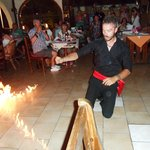 fire dancing on the greek night