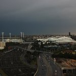 View from the balcony to the MCG, Rod Laver Arena and HiSense stadium, the day of a huge storrm